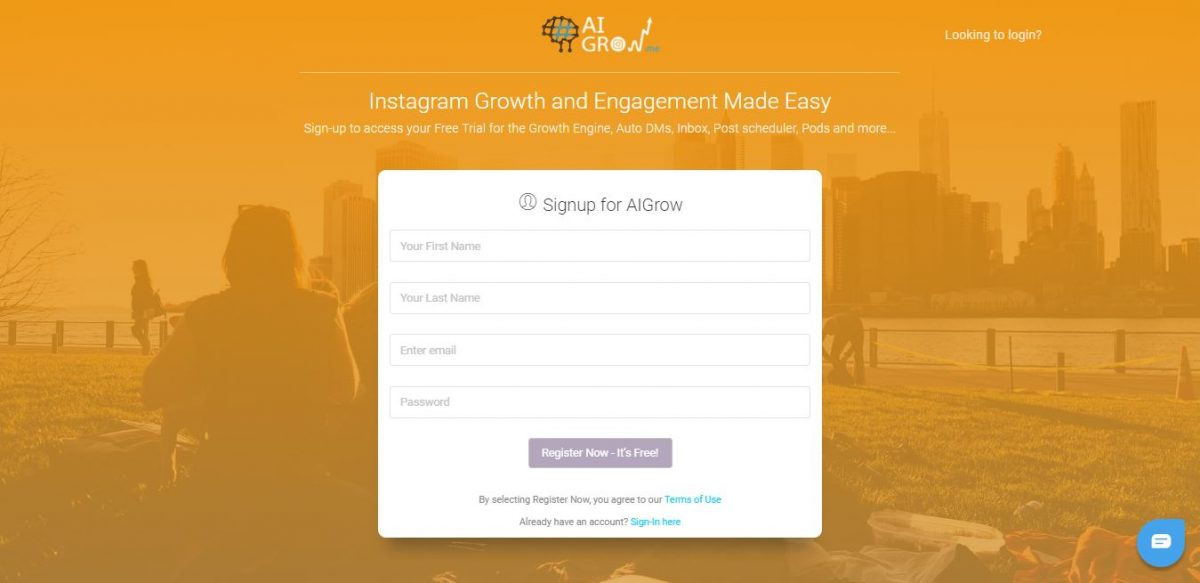 easy AIGrow signup