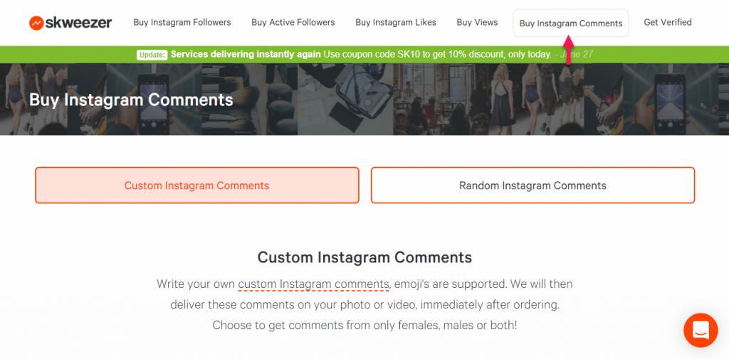 buy instagram comments skweezer