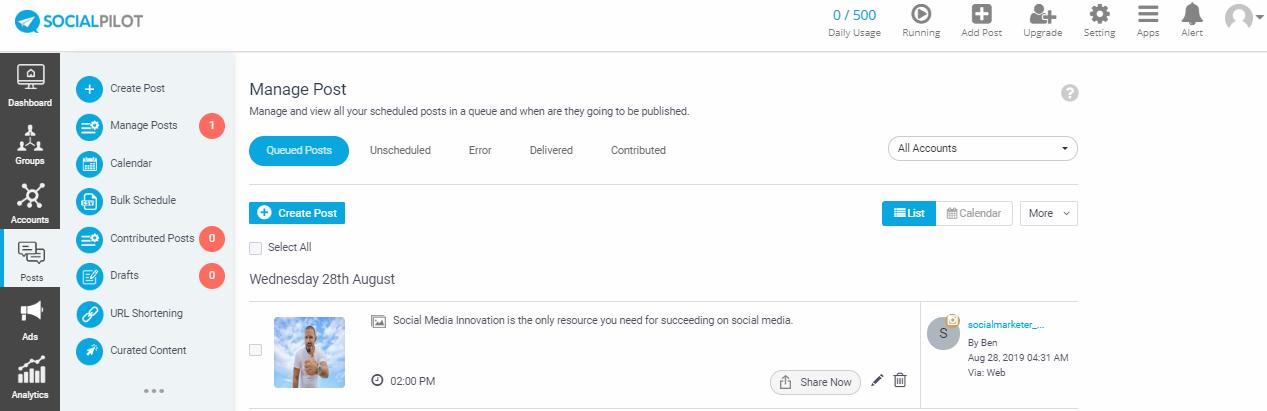 upcoming schedule posts on SocialPilot