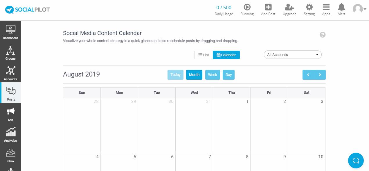 SocialPilot social media content calendar