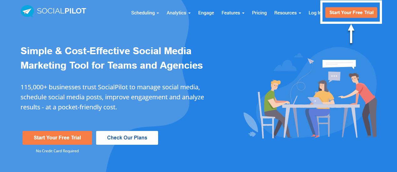 socialpilot homepage
