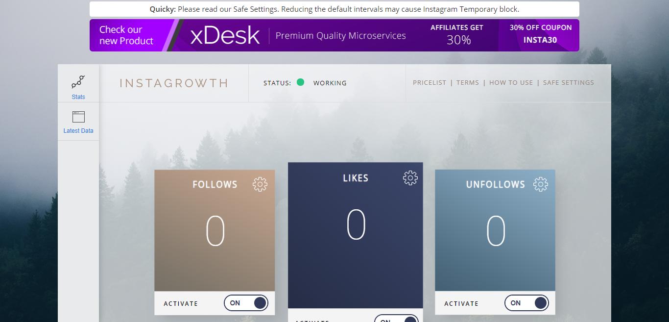 Instagrowth dashboard