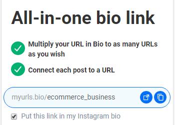 custom URL for IG bio