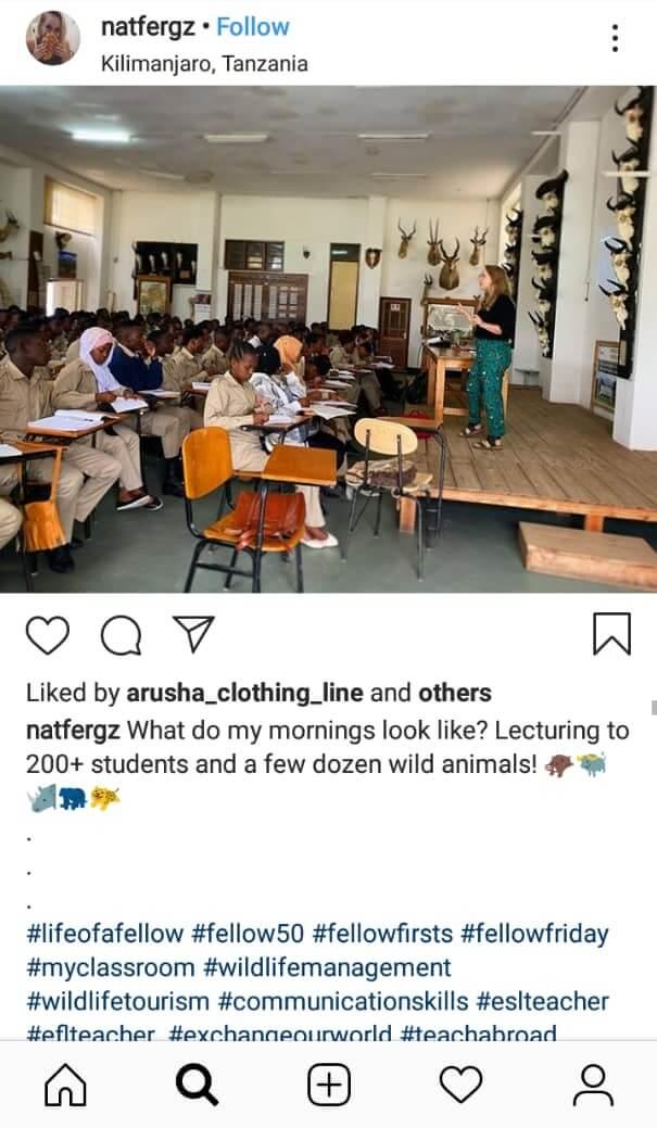 ESL teacher promoting her classes